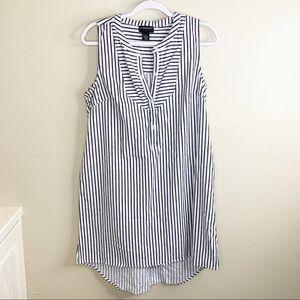 Lane Bryant White Navy Striped Sleeveless Dress